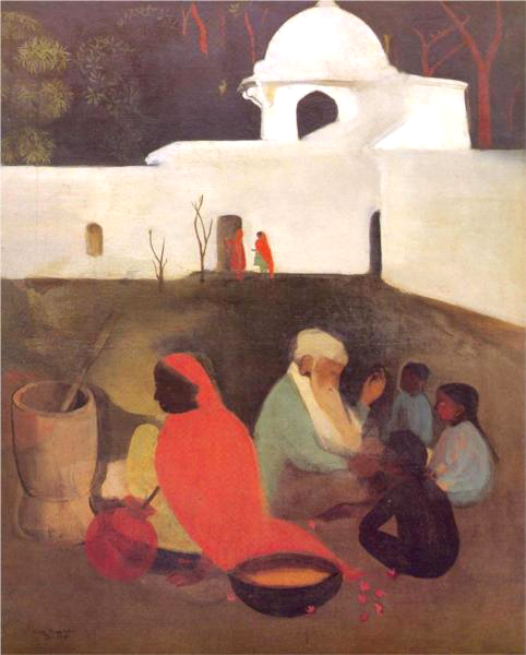 Amrita Sher-Gil (Budapest, Hungría, 1913 - Lahore, Pakistán, 1941) Ancient Storytellers, 1940.