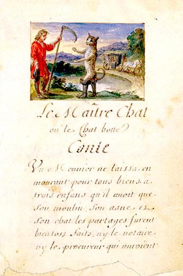 El gato con botas de Charles Perrault. Manuscrito ilustrado de 1695.