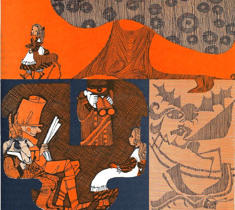 Brigitte Bryan, ilustración para Alice in Wonderland and Through the Looking Glass de Lewis Carroll, 1970.