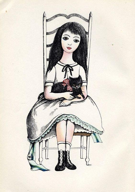 Dagmar Berková (Viena, 1922- Praga, 2002), ilustración para Alice's Adventures in Wonderland and Through the Looking Glass de Lewis Carroll, 1961.