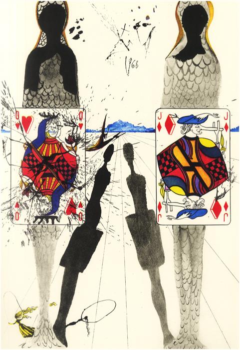 "Salvador Dalí, ""The Queen's Croquet Ground"", heliograbado para Alice's Adventures in Wonderland, 1969."