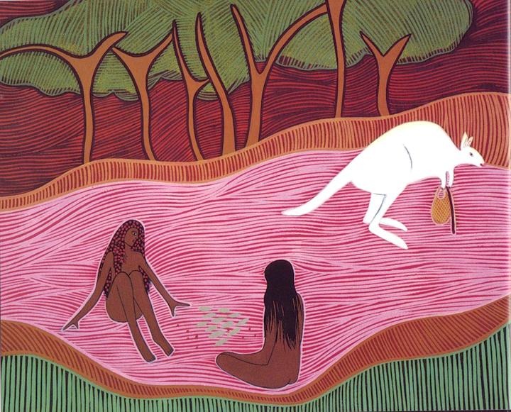 Donna Leslie , ilustración para Alitji in Dreamland (Alitjinya Ngura Tjukurmankuntjala), adaptación de Nancy Sheppard, 1992