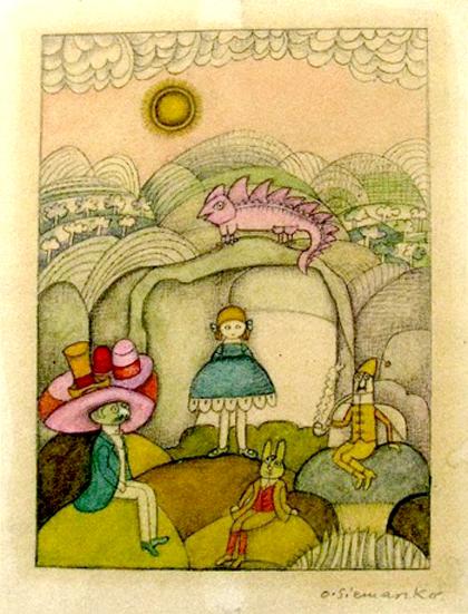 Olga Siemaszko, ilustración para Alicja w Krainie Czarów de Lewis Carroll, 1955.