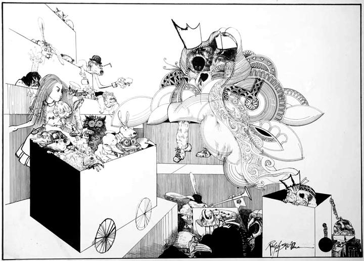 Ralph Steadman, ilustración para Alice's Adventures in Wonderland,1968.