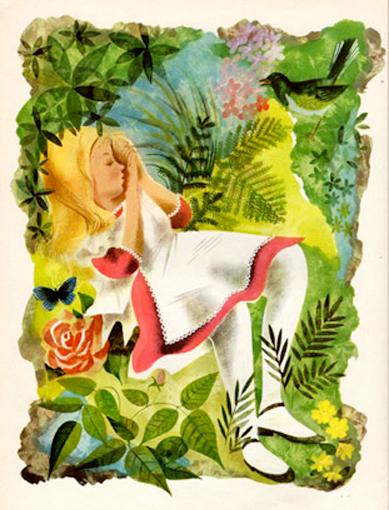 Leonard Weisgard, ilustración para Alice's Adventures in Wonderland, 1949.