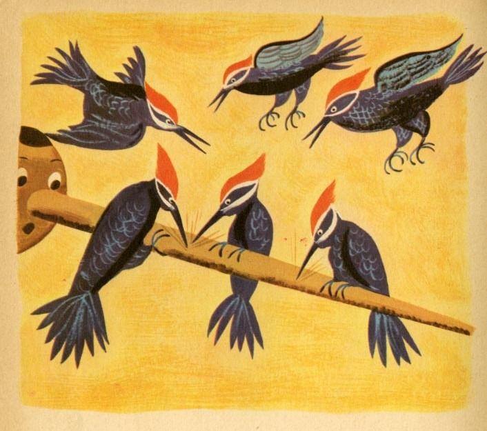 Ilustración de Art Seiden para Pinoccho de Carlo Collodi, 1954.