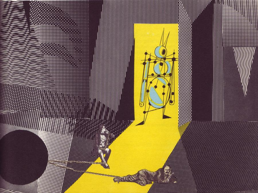Adolf Hoffmeister, portada e ilustraciones para una edición checa de Los primeros hombres en la Luna de H. G. Wells, 1964.