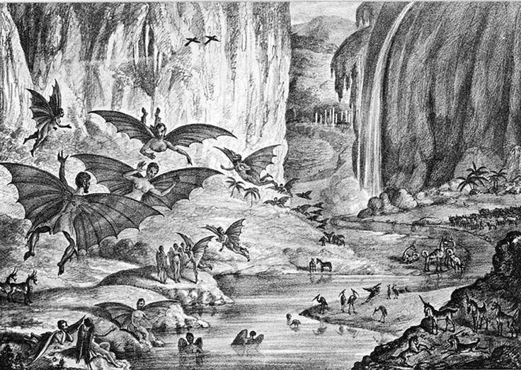 Litografía de The New York Sun del 28 de agosto de 1835.