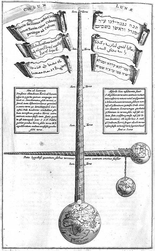 Grabado de Turris Babel de Athanasius Kircher, Ámsterdam, 1679.