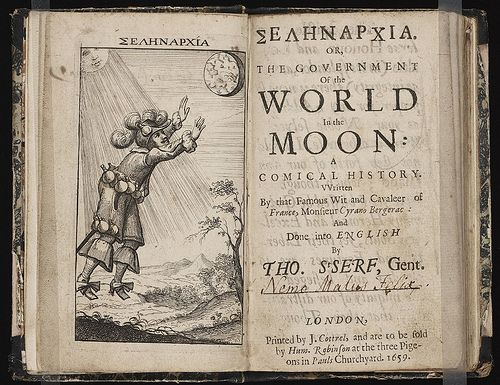 Frontispicio de Selenharia or, The Government of the World in the Moon: A Comical History, de Cyrano Bergerac, Londres, 1659.