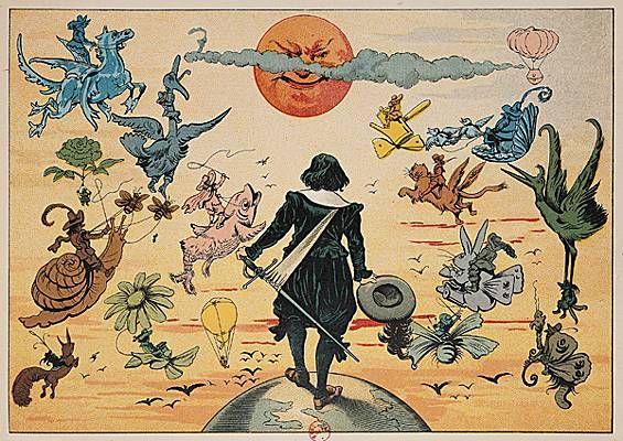 "Henriot, ""Cyrano face à la lune"", ilustración para Histoire comique des États et empires de la Lune de Cyrano de Bergerac, 1990. (Bibliothèque Nationale de France, París.)"