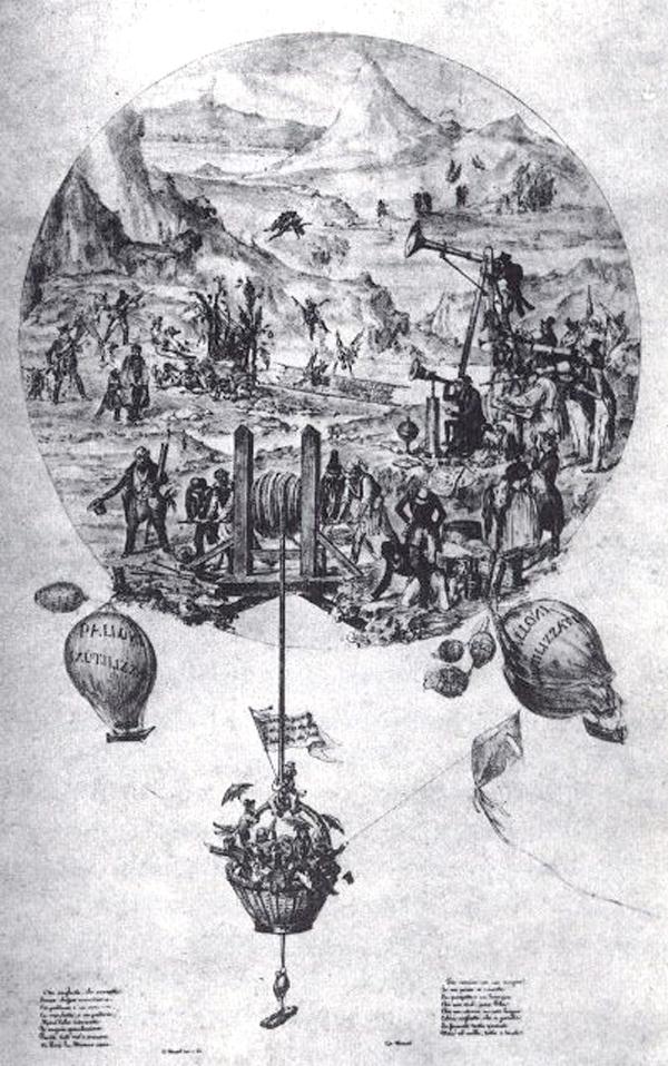 Ilustración anónima basada en los reportajes sobre la existencia de vida en la Luna, 1836.