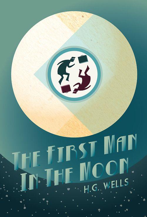 Portada diseñada por Simon Khoo para Los primeros hombres en la Luna de H. G. Wells.