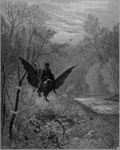 Ilustración de Gustave Doré para Orlando furioso de Ludovico Ariosto, Hachette and Co., Londres, 1877.