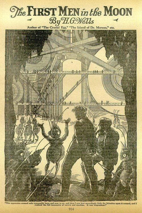Ilustración para Los primeros hombres en la Luna de H. G. Wells, 1901.