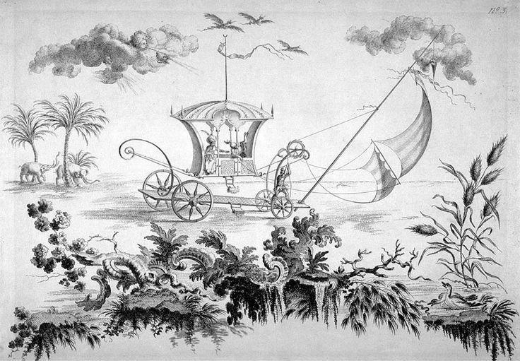 Coche lunar en Raccolta de Filippo Morghen, Nápoles, 1768.