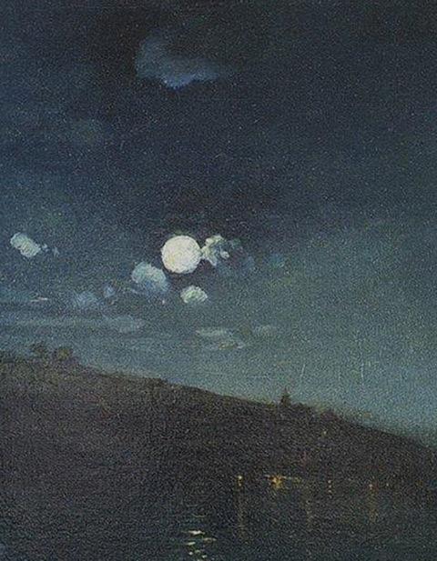 Aleksey Savrasov, detalle de Noche iluminada por la luna. Paisaje con fuego, hacia 1890.