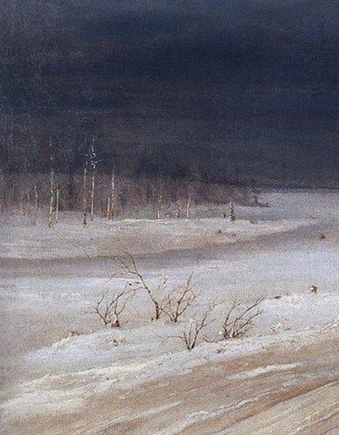 Aleksey Savrasov, detalle de Paisaje de invierno, hacia 1890.