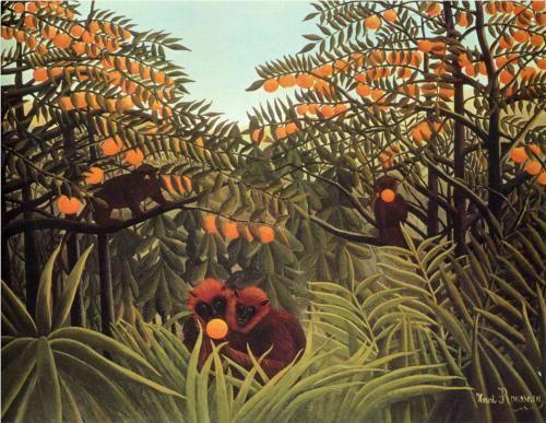 Henri Rousseau, Monos en una arboleda anaranjada.
