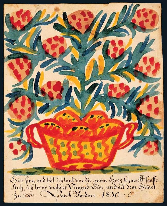 Dibujo folk de Heinrich Engelhard (hacia 1830), American Folk Art Museum.