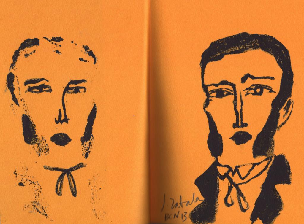 """Javier Zabala, """"Gato-nariz"""" y """"Bartleby"""", dibujos realizados durante el taller."""
