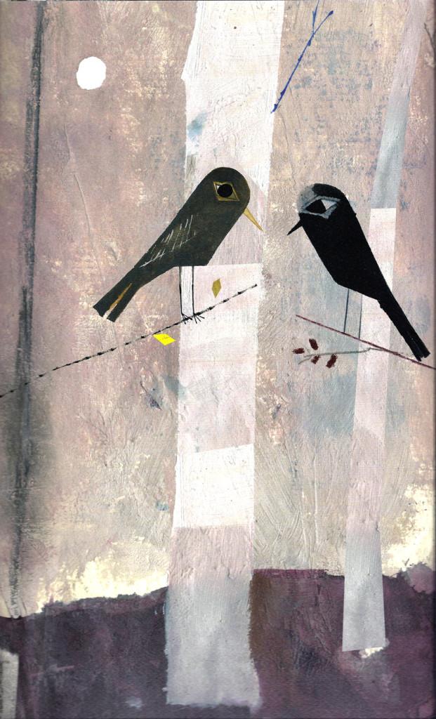 Javier Zabala, ilustraciones de El pájaro enjaulado, texto de Vincent van Gogh, Edelvives, Barcelona, 2013.