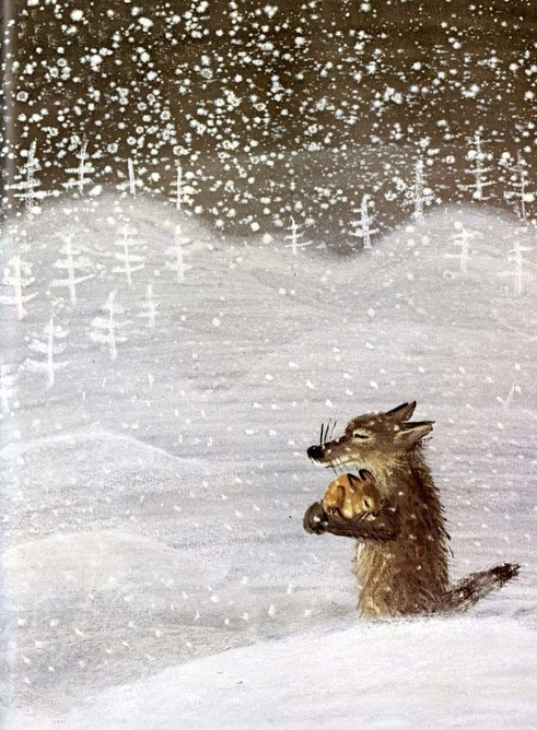 Józef Wilkoń (Polonia, 1930). Ilustración de The Story of the Kind Wolf de Peter Nickl, 1982.