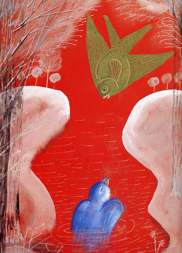Józef Wilkoń (Polonia, 1930). Ilustración de Zwei Freunde de Paz Rodero, Bohem Press, Zürich, 1995.