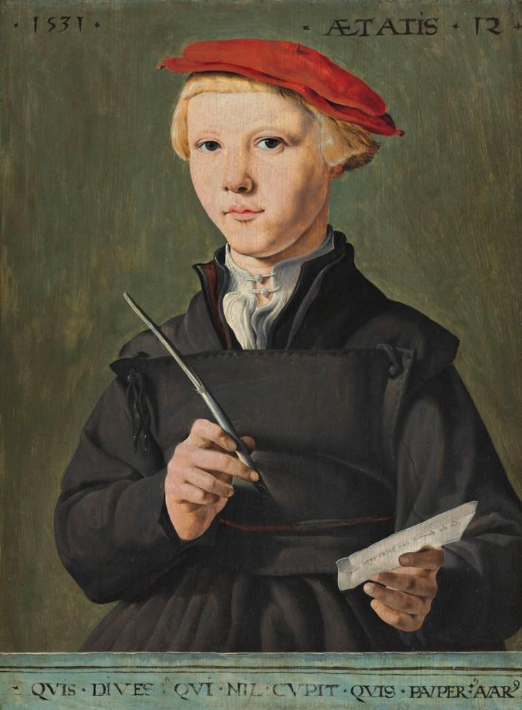 Jan van Scorel, Retrato de un joven estudiante, 1531. Rotterdam, Museum Boijmans Van Beuningen.