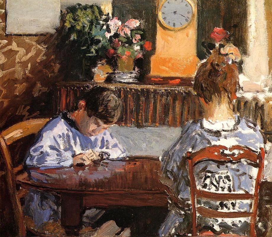 Alfred Sisley, La lección, 1874.