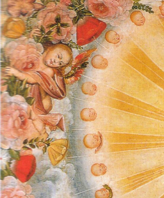 Detalle de La Virgen del Santo Rosario; Anónimo, Escuela Cuzqueña, siglo XVIII; Convento de Santa Catalina en Cuzco, Peru.