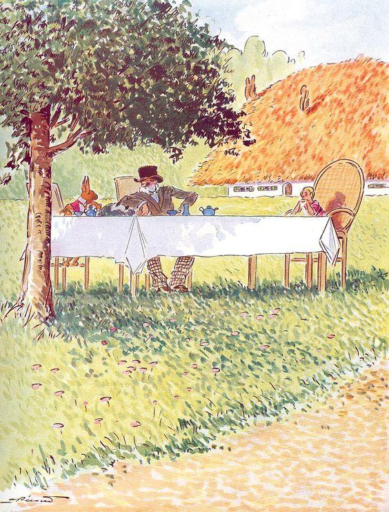 André Pécoud (París, 1880-1951), ilustración para Alice au pays des merveilles de Lewis Carroll, 1950.