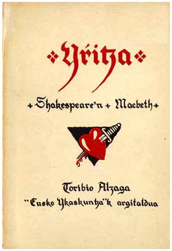 Portada de Toribio Alzaga para la versión de Macbeth en euskera, San Sebastián, 1926.