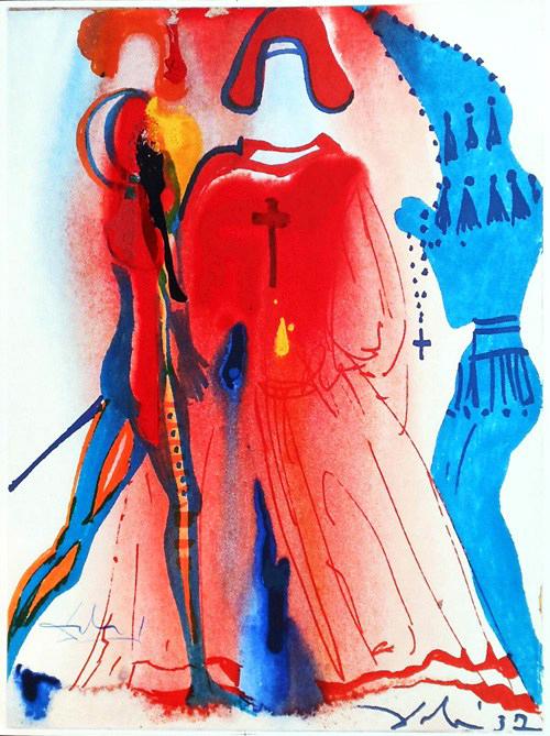 Litografía de Salvador Dalí para Romeo y Julieta, editado por Rizzoli (Milán), 1975.