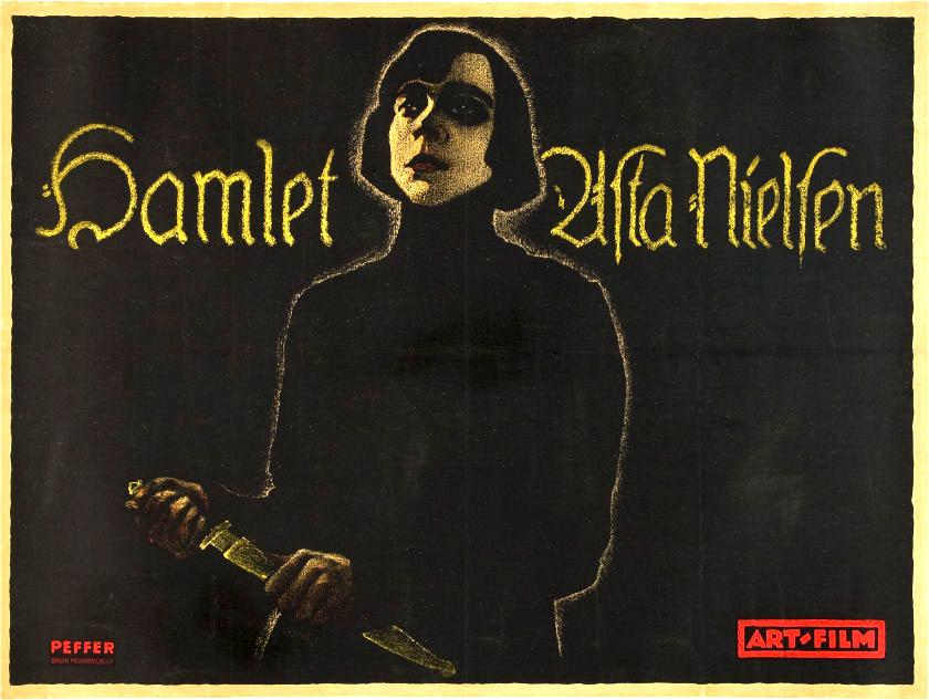 Poster para la película Hamlet de Svend Gade & Heinz Schall, Alemania, 1921.