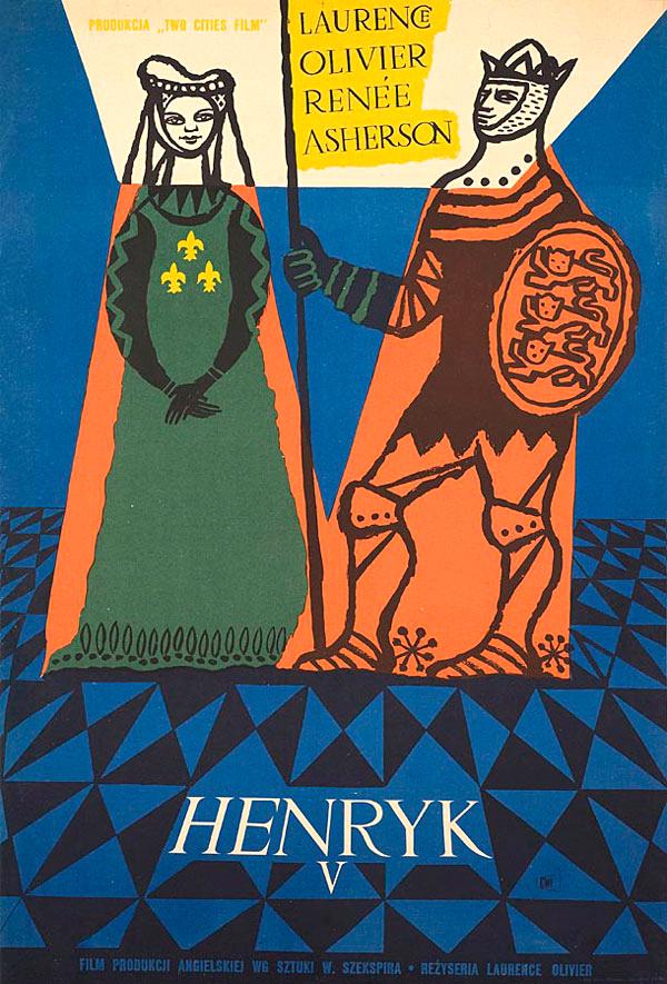 Poster polaco de Jozef Mroszczak para la película Henry V, 1956.