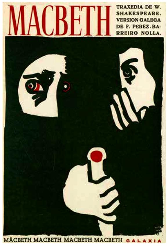 Portada de Fernando Pérez-Barreiro para la versión gallega de Macbeth, 1972.