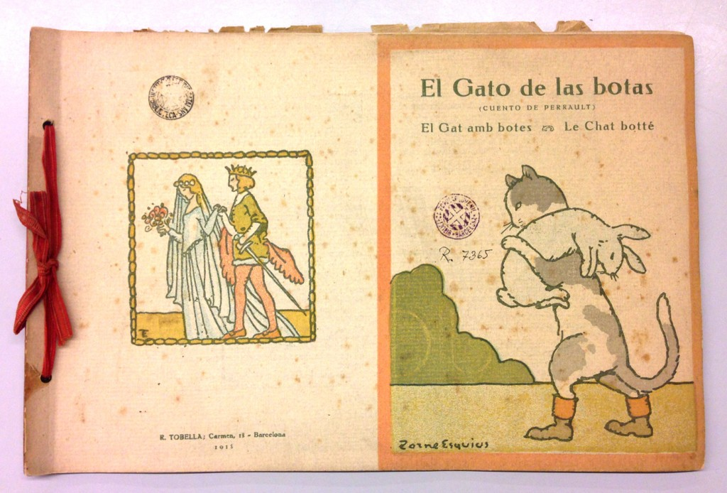 El Gato de las botas, El Gat amb botes, Le Chat botté, de C. Perrault, ilustraciones de Pere Torné Esquius, Editorial Tobella, 1918.