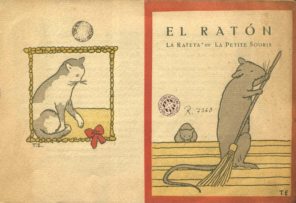 El Ratón, La Rateta, Le Petite Souris, de C. Perrault, ilustracione de Pere Torné Esquis, Editorial Tobella, 1918.