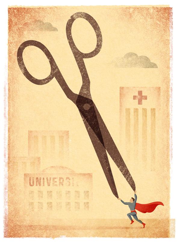 """Luis Demano, """"75 aniversario de Superman"""", ilustración para El Mundo, 2013."""