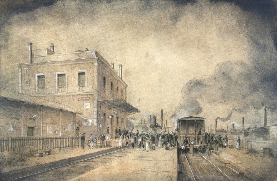 """Jordi Vila Delclòs, """"L'estació 1936"""", ilustración para la revista Cavall Fort, 2010."""